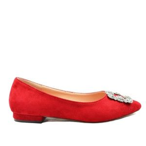 Women's Rhinestone Red Pointed Toe Ballet Flat